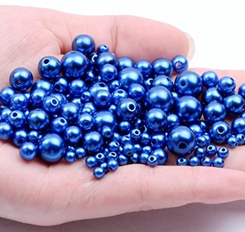 3 mm-12 mm 25 piezas-1000 piezas 16 agujeros rectos de color redondo cuentas de perlas de plástico de imitación DIY para accesorios de fabricación de joyas costura-zafiro, 10 mm 40 piezas