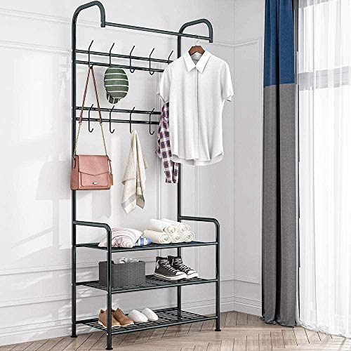 LHYLHY Multifunctional Metal Coat Rack Hall Stand Shoes Rack with 3 Shelves for Clothes  Hats  Bags  Shoes  Umbrallas  Black  185cm (Black  Metal)