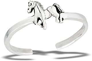 Animal Horse .925 Sterling Silver Midi Stallion Wild Toe Ring Band