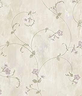 Chesapeake ARS26094 Shiva Silver Trumpet Floral Vine Wallpaper, Cream