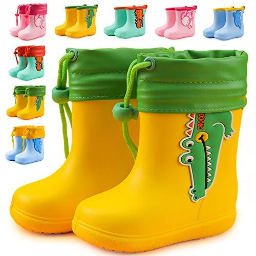 MARITONY Gummistiefel Kinder Gefütterte Gummistiefel Mädchen Jungen Regenstiefel Wasserdicht und Rutschfest mit Kordelzug Gelb 22EU