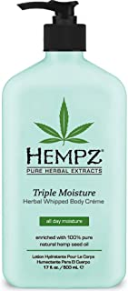Natural, Triple Moisture Herbal Whipped Body Creme with 100% Pure Hemp Seed Oil for 24-Hour Hydration - Moisturizing Vegan Skin Lotion with Yangu Oil, Peach and Grapefruit - Enriched Moisturizer