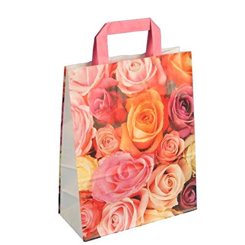 250 Papiertragetaschen Einkaufstüten Tragetaschen aus Papier 22+10x28cm 80g/m² Blumen weiß rosa mit Neutralmotiv Millefiori