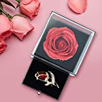sumersha mother's day red rose gift handmade eternal rose flower jewelry box with tulip brooch for valentine's day, anniversary, christmas, birthday
