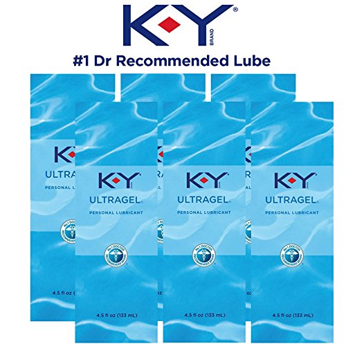 K-Y UltraGel Premium Water Based Lube- Personal Lubricant Safe to Use with Latex Condoms, Devices, Sex Toys and Vibrators, 4.5 oz (Pack of 6)