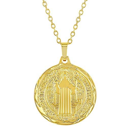 In Season Jewelry - Chapado en Oro 18k Medalla de San Benito Religioso Reversible Collar Unisex 48cm