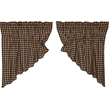 VHC Brands Classic Country Primitive Kitchen Window Curtains - Check Blue Scalloped Prairie Swag Pair x King Navy