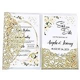 Best Wedding Invitations - DORISHOME 50pcs Glitter Gold Blank 4.7x7 Inch Wedding Review