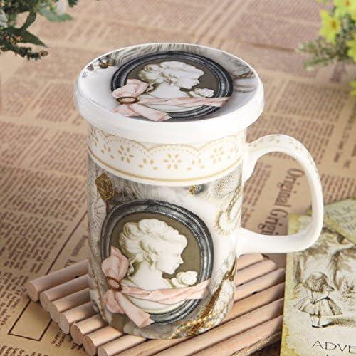 Rétro os européenne porcelaine tasse tasse avec couvercle tasse en céramique bureau tasse