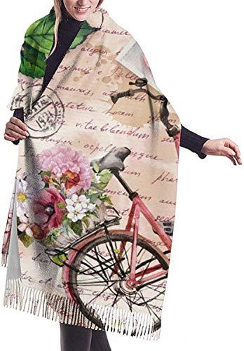 Fiets Met Bloemen In Mand Eiffeltoren Rose Zachte Cashmere Sjaal Wrap Sjaals Lange Sjaals Voor Vrouwen Office Party Reizen 68X196 cm