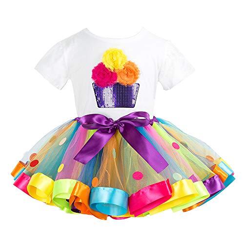 Kinder Geburtstag T-Shirt Tutu Kleid 2 Stück Baby Mädchen Kurzarm Tops Rock Party Outfits 2-3 Jahre