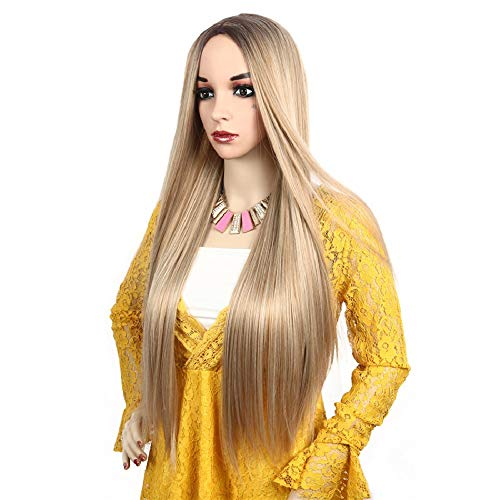 Price comparison product image LuoLeiNa Straight Blonde Wig Fashion Women's Highlight Silk Long Halloween Wigs for Girl Heat Friendly Synthetic Hair Mix Color Party Cosplay Wigs for Women
