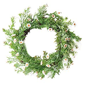 DAMEING 15Inch Daisy Wreaths, Artificial Flower Spring Wreath for Front Door Window Wall Hanging, Summer Silk Decorative Wreath Decorations
