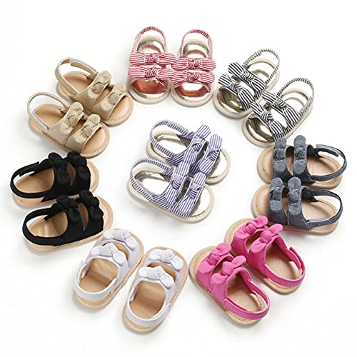 Boiiwant Baby Sandals Newborn Soft Sole Stripe Crib Shoes Infant Toddler Girl Bowknot 0-12M