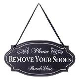 NIKKY HOME Please Remove Your Shoes Thank You Muro Decorativo de Pared de Madera, Negro