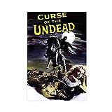 Póster clásico de película retro con texto 'Curse of The Undead de la película 5 de la vendimia de la decoración del dormitorio de la oficina, Unframe de 60 x 90 cm