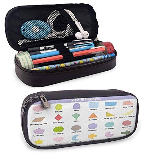 Pädagogisches Briefpapier Stift Fall Klassische Grundlegende 2D Formen Bunte Design Cartoon Stil Kinder Lernen Studie Schreibtisch Aufbewahrungsbox W3.5xL7.9 Multicolor