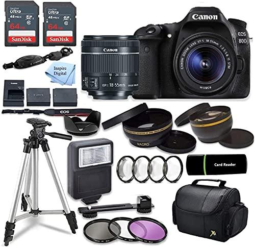 EOS 80D DSLR Camera Bundle with 18-55mm STM Lens + 2pc SANDISK 64GB Memory Cards + Accessory Kit