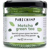 Té Matcha Verde en Polvo 50g de PureChimp | Grado Ceremonial De Japón | Sin Pesticidas | Tarro de Cristal Reciclable y Tapa de Aluminio