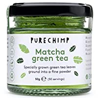 tè verde matcha in polvere 50g di purechimp | grado cerimoniale dal giappone | senza pesticidi | il barattolo di vetro riciclabile è un coperchio in alluminio