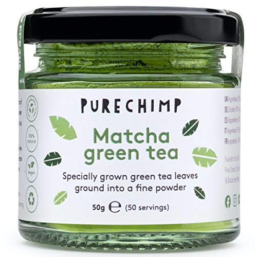 Matcha Green Tea Powder (Super Tea) 50g by PureChimp | Ceremonial Grade from Japan | Pesticide-Free | Recyclable Glass Jar & Aluminium Lid