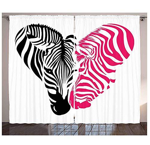MUXIAND Roze Zebra-keukengordijnen Afrikaanse zebra-set in de vorm van een hart, liefde, bruiloftsfeest, raam gordijnen voor het leven