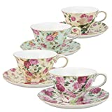 Gracie China by Coastline Imports Rose Chintz 8-Ounce Porcelain Tea Cup and Saucer, Set of...