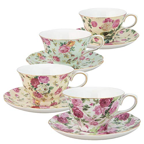 Gracie China by Coastline Imports Rose Chintz 8-Ounce Porcelain Tea Cup and Saucer, 0, Multicolor
