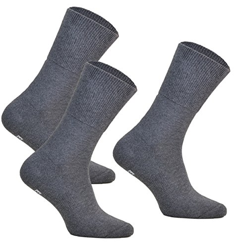 3paar ohne Kompression Baumwollsocken MEDIC DEO COTTON für Diabetiker Damen und Herren Antibakteriale Gesundheits Socken (Graphit, 3 paar: 44-46)