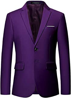 Sodossny-AU Mens Business Long Sleeve Two Buttons Solid Color Slim Fit Blazer Jacket