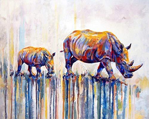 DIY Malen nach Zahlen für Erwachsene Junior Kinder, ABEUTY Nashorn Tier 40x50cm Weihnachten Valentinstag Geschenk