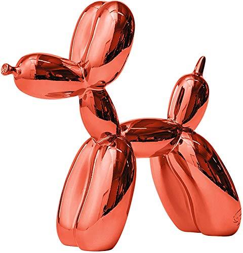 Jeff Koons Balloon Dog Figuren,Glänzende Ballon Hund Deko Skulptur Harz,Rot 25cm*25cm*9cm