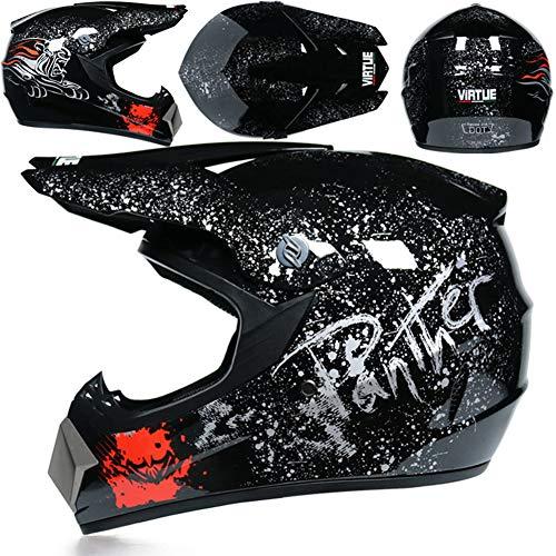 Casco Motocross Integrale,Motociclista Downhill Caschi Moto Cross Integrali per Adulti Bici Moto MTB Fuoristrada Enduro con Occhiali Maschera e Guanti,Black Floral,L