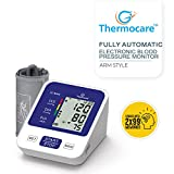 Thermon Digital Autmomatic Upper Arm Blood Pressure Monitor with Digital Thermometer and USB Cable for Charging, White