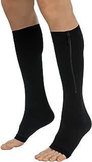 Zipper Compression Socks for Men Women Open Toe Toeless 20-30mmHg Knee High Support Stockings Hose Sleeves Graduated Athletic Medical Fit for Running Flight Nurses (Black XL)