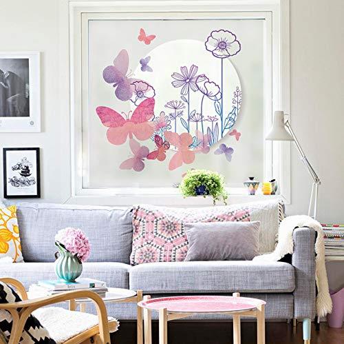 Djkaa Mooie vlinder romantische bloemen vorst raamfolie zelfklevend decoratie thuis voor woonkamer slaapkamer 80*120cm(31.50*47.24 inch)