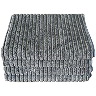 Gryeer Bamboo and Microfibre Kitchen Tea Towels, Super Absorbent and Thick Dish Towels, One Side Ribbed One Side Smooth Cleaning Cloth, 45x65cm, Pack of 4, Grey