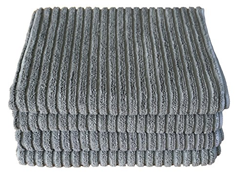 Gryeer Microfiber Kitchen Towels - Super Absorbent Dish Towels - One Side Ribbed One Side Smooth Tea Towels, 26x18 Inch, Pack of 4, Gray