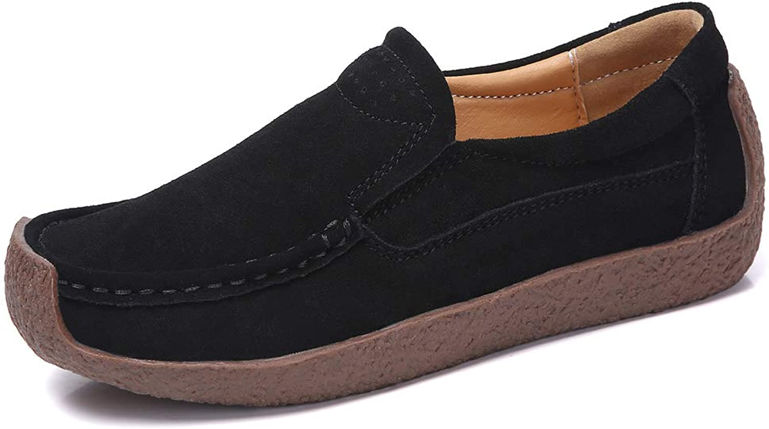 YKH Womens Slip On Suede Loafer Flats Casual Driving Moccasins Comfortable Work shoes