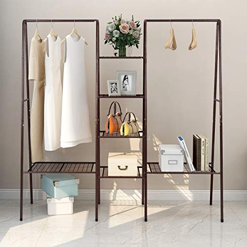 DUMEE Garment Metal Clothing Racks 4-Tiers 6 Shelf Shoe Rack 2 top crossbars Overhead Bar for Hanging Clothes, Coat Hat Rack and Storage Durable Metal Stable Easy to Assemble Adds Closet Space Bronze
