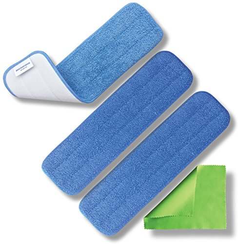 "Microfiber Pros Reusable 18"" Mop Pad Replacement Heads for Wet or Dry Floor Cleaning and Scrubbing – Heavy Duty Commercial Grade Fabric Weight of 13.2 oz/sq. yd. – 3 Pack with Bonus Cloth"