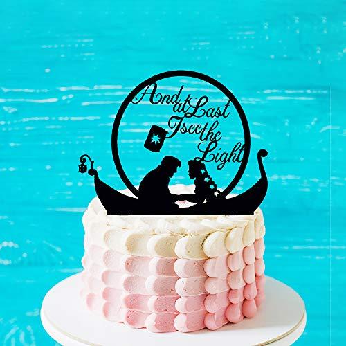 Wedding Cake Topper met Prins en Rapunzel op een boot, en eindelijk zie ik de lichte citaat taart Topper, de heer en mevrouw Silhouette Cake Topper