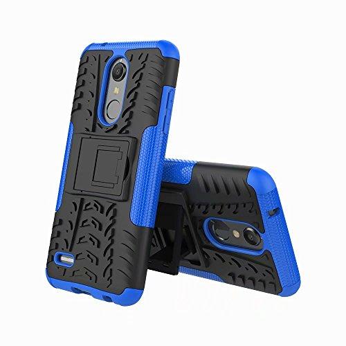 LAGUI Funda Adecuado para LG K10/K11 2018, Carcasa Viene con Pestaña de Apoyo, Robusta Caja Híbrida TPU/PC de Doble Capa, Resistencia a Las Caídas Golpes y Arañazos. Azul