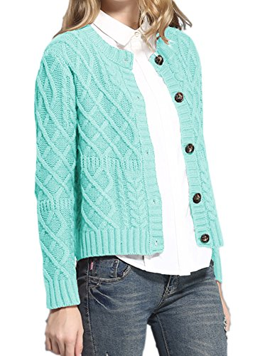 v28 Women Vintage Cotton Cable Knitted Button Long Sleeves Coat Sweater Cardigan (Small, Navy Blue)