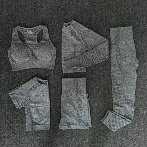 WHEEJE Traje de Yoga, 5 PCS Mujeres Sin Fisuras Yoga Set Fitness Sports Trajes Gimnasio Ropa Yoga Camisetas + Leggings de Cintura Alta + Pantalones Cortos Pantalones de Ejercicios Elástico