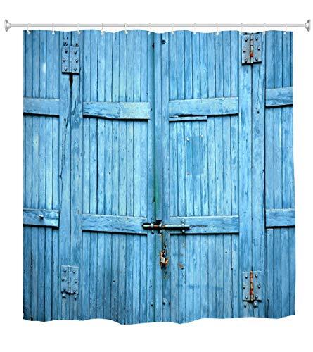 Goodbath Barn Door Shower Curtain, Waterproof Polyester Fabric Bathroom Bath Curtains, 72 x 72 Inch, Blue