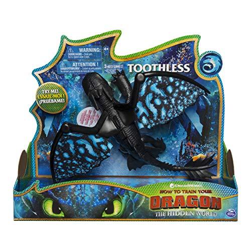 Dragons 6046847 - Movie Line - Deluxe Dragons - Ohnezahn (Solid), Actionfigur mit Licht - & Soundeffekten, Drachenzähmen leicht gemacht 3, Die geheime Welt