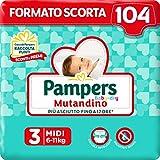 Pampers Baby Dry Mutandino Midi, 104 Pannolini, Taglia 3 (6-11 Kg)