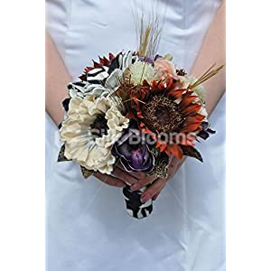 Animal Print Artificial Anemone, Sunflower and Magnolia Bridesmaid Bouquet with Handmade Flowers