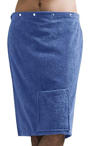 Lashuma Saunakilt Herren Blau - Azur, Saunatuch Fun aus Frottee Baumwolle, Saunarock mit Druckknöpfen, Tasche und Gummizug